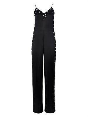 Star-embroidered lace and satin jumpsuit