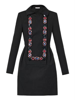 Jewel-embellished bib-front dress