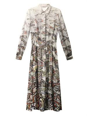 Dragonfly-print silk-chiffon dress