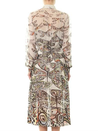 Matthew Williamson Dragonfly-print silk-chiffon dress