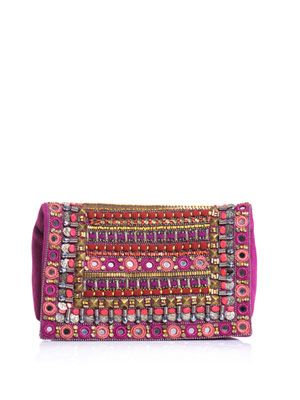 Embellished suede clutch