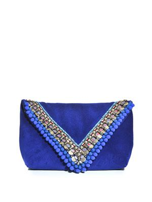 Embellished suede envelope clutch