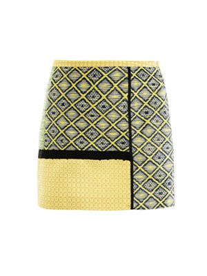 Raffia tweed patchwork skirt