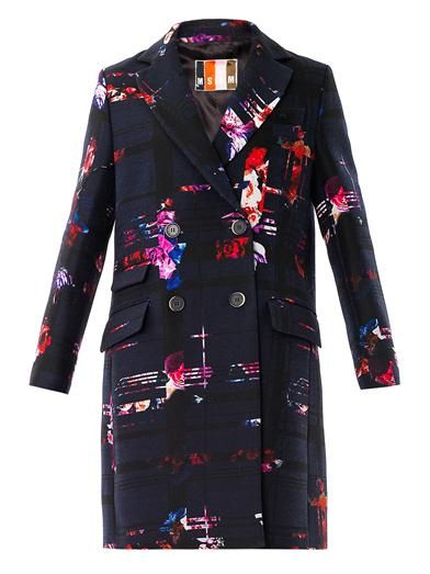 MSGM Floral checked-print coat