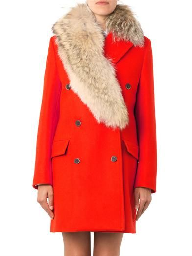 MSGM Fur collar double-breasted coat