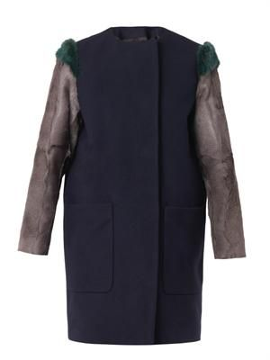 Fur-sleeved wool coat