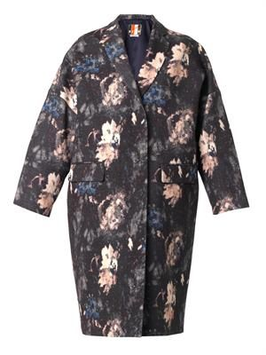 Floral-print wool and silk-blend coat