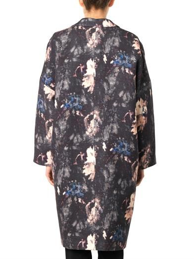 MSGM Floral-print wool and silk-blend coat