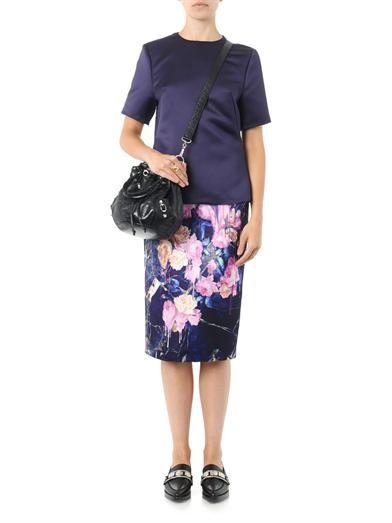 MSGM Floral-print satin pencil skirt