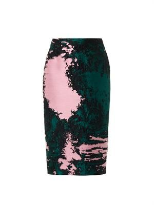 Textured-brocade pencil skirt