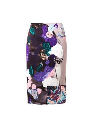 Abstract-print satin pencil skirt