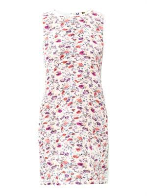 Floral-print pleated shift dress