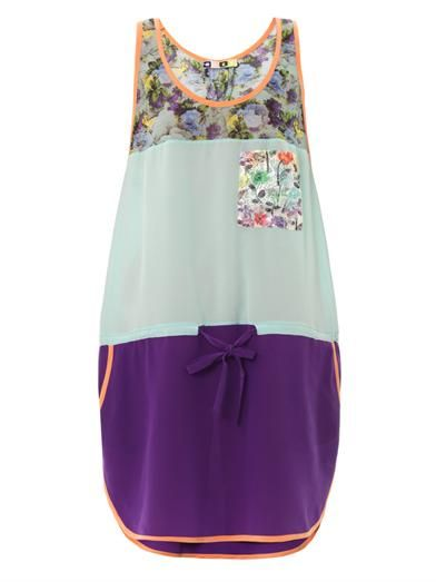 MSGM Colour-block and floral-print silk dress