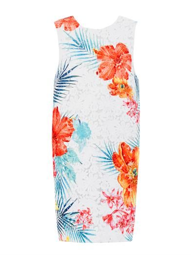 MSGM Floral-embroidered sleeveless dress