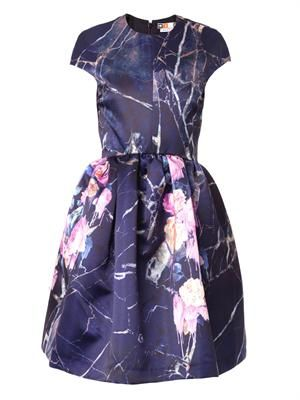 Floral-print duchess-satin dress