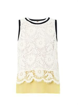 Lace and organza tank top