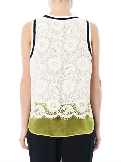 MSGM Lace and organza tank top