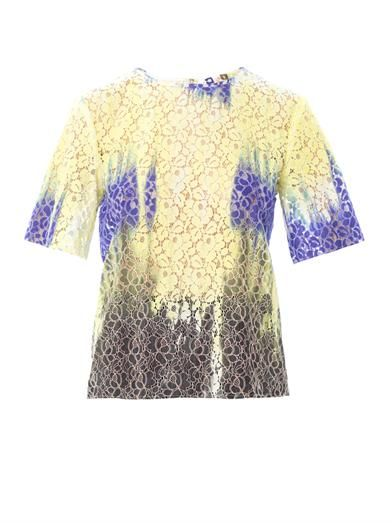 MSGM Tie-dye lace blouse