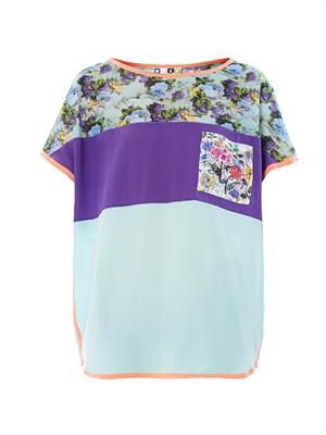 Colour-block and floral-print silk blouse