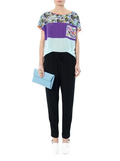 MSGM Colour-block and floral-print silk blouse