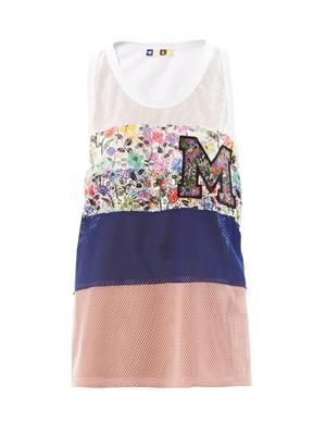 Colour block mesh tank top