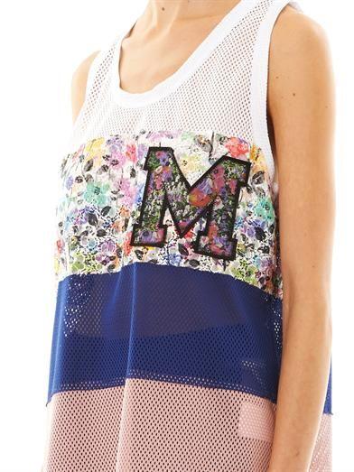 MSGM Colour block mesh tank top