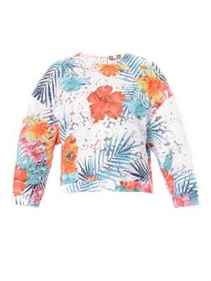 Floral-embroidered organza top