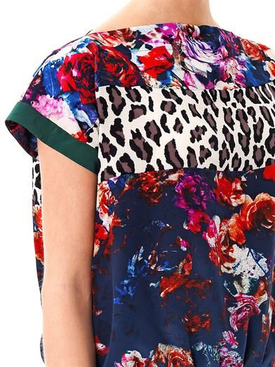 MSGM Floral and leopard-print silk top