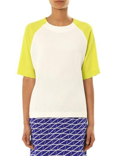 MSGM Contrast-sleeve crepe T-shirt