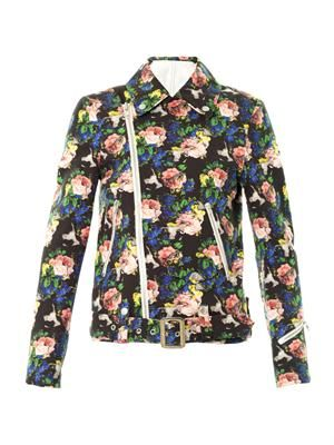 Floral-print cotton biker jacket