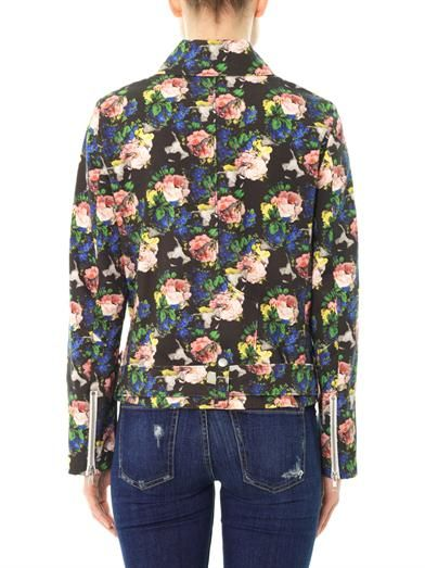 MSGM Floral-print cotton biker jacket