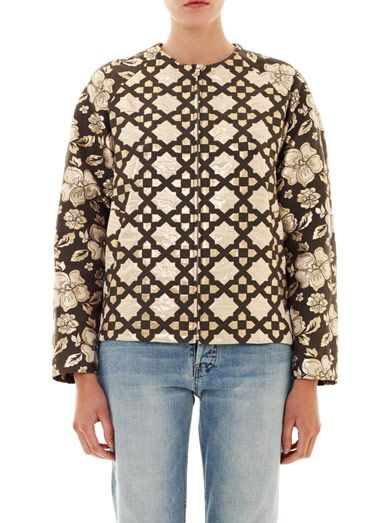 MSGM Aztec and floral brocade jacket