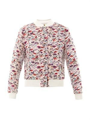 Floral-print micro pleat bomber jacket