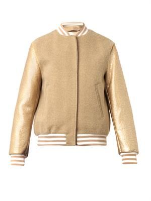 Resin and fleece-wool bomber jacket