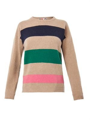 Block-stripe wool sweater