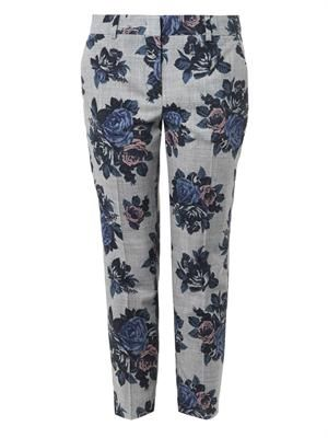 Floral-print wool trousers