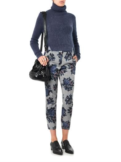 MSGM Floral-print wool trousers