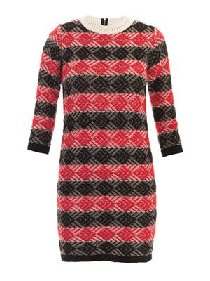 Intarsia stripe knitted dress