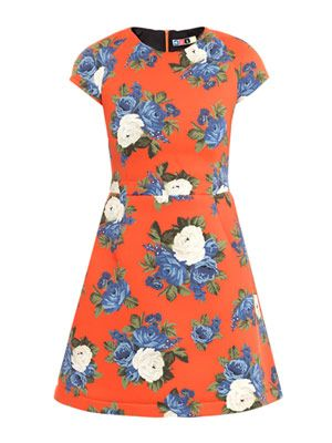 Neoprene floral-print dress