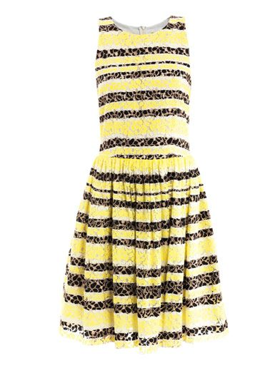 MSGM Stripe lace sleeveless dress