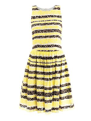 Stripe lace sleeveless dress