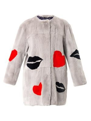 Lips and Hearts rabbit fur coat