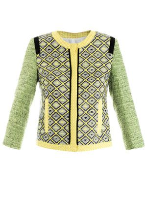 Raffia tweed patchwork jacket