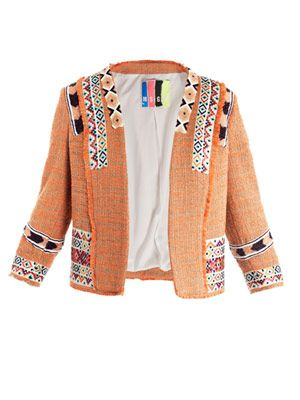 Neon tweed embroidered jacket