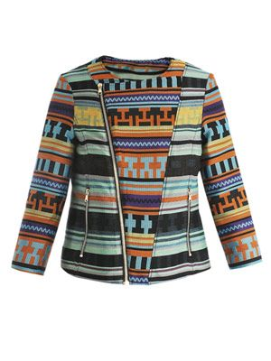 Aztec embroidered biker jacket