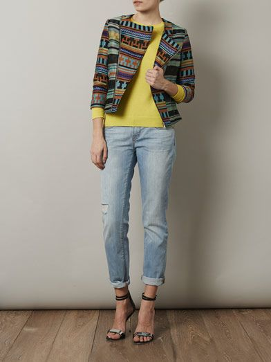 MSGM Aztec embroidered biker jacket