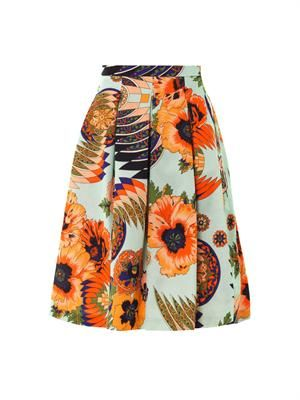 Hibiscus-print cotton-blend fille skirt