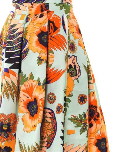 MSGM Hibiscus-print cotton-blend fille skirt
