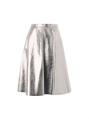Metallic faux-leather skirt