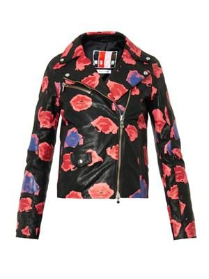 Lips-print leather jacket